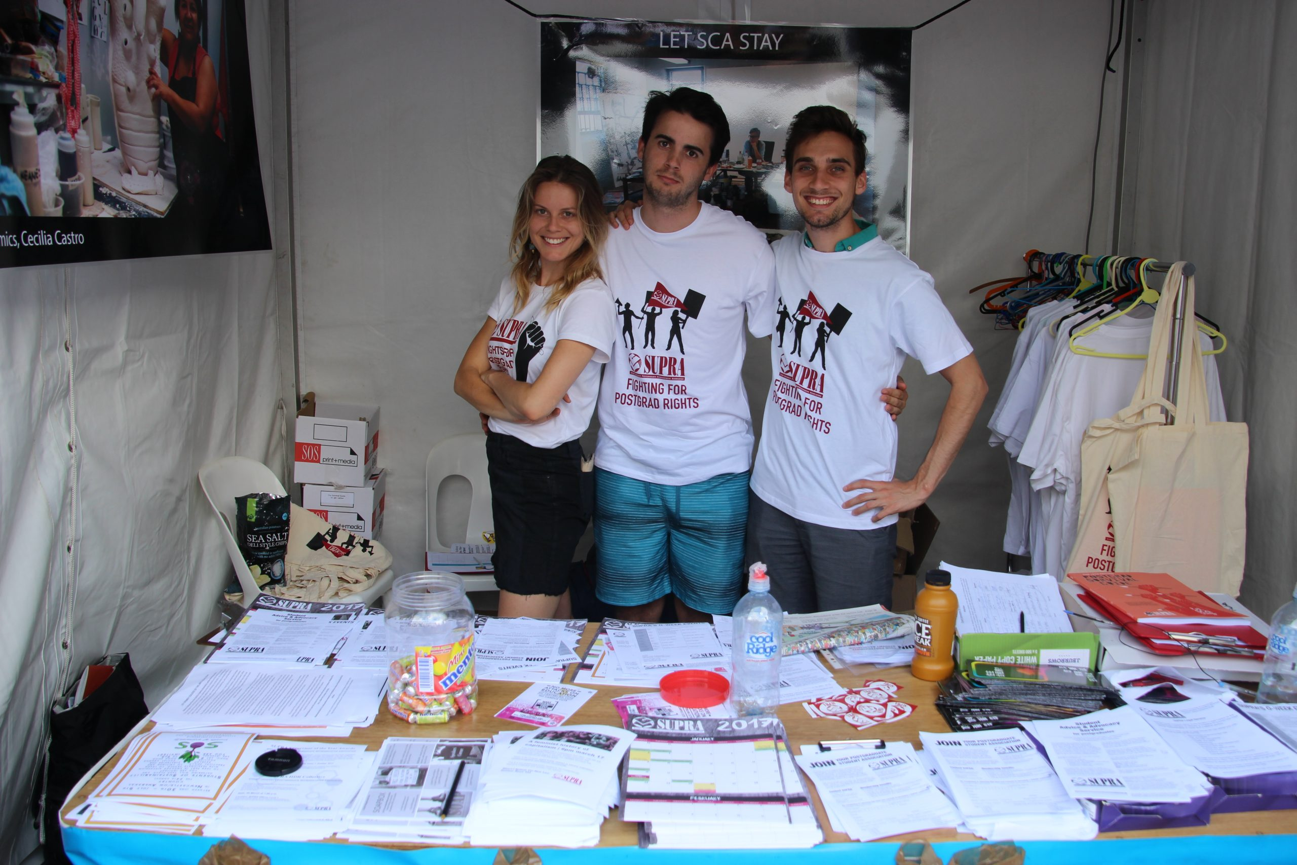 2017 O week stall Lily Matchett (VP:Co-Pres) Connor Duncan (Aboriginal Officer) Joshua Preece (2015 Treasurer)